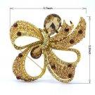 "Brown Teardrop Bowknot Riband Flower Brooch Pin W/ Rhinestone Crystal 3.7"""