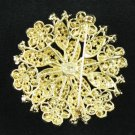 "Cute Green Round Flower Brooch Pin 2.2"" W/ Rhinestone Crystals"