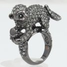 Cute Swarovski Crystals Cocktail Wild Pretty Black Monkey Ring 6#