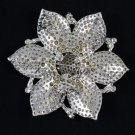 "Exquisite Green Flower Brooch Pin 4.1"" W/ Rhinestone Crystals 8803487"