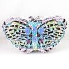 High Quality Blue Swarovski Crystals Butterfly Clutch Evening Handbag Purse 1161