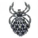 Vintage Style Araneid Spider Brooch Broach Pin w/ Jet Rhinestone Crystals 4792C9