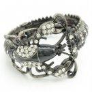 Vintage Style Black Lobster Bracelet Bangle Cuff W/ Clear Rhinestone Crystals