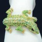 Terrible Animal Green Crocodile Bracelet Bangle Cuff W/ Swarovski Crystals