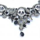 Goth Vintage Style Swarovski Crystals Gray Snake Skull Necklace Earring Set
