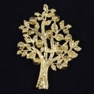 "Trendy Chic Dazzling Tree Brooch Pin 3.4"" W/ Brown Swarovski Crystals"