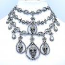 Halloween Flower Skull Chokers Necklace Earring Set Black Swarovski Crystals