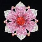 "Vogue Flower Brooch Pin 4.1"" W/ Pink Rhinestone Crystals Floral 8803487"