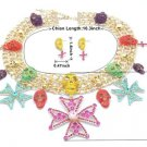 Goth Style Flower Skeleton Skull Cross Necklace Earring Set Swarovski Crystals