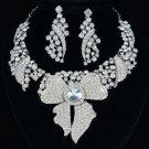 Bridal Floral Leaf Flower Necklace Earring Set W/ Clear Rhinestone Crystals