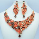 Chic Vogue Floral Flower Necklace Earring Set Red Rhinestone Crystals 5869