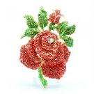 "Swarovski Crystal Gold Tone Red Rose Flower Brooch Broach Pin 2.6"" W/ Green Leaf"