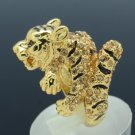 Gold Tone Animal Tiger Cocktail Ring Size 8# W/ Topaz Swarovski Crystals SN2903R