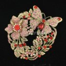 Pretty Swarovski Crystals Red Flower Butterfly Brooch Pin 4489