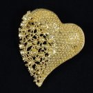 Vogue Rhinestone Crystals Brown Big Heart Brooch Pin