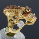 Chic Cute Brown Zircon Froggy Frog Ring Size 6# Swarovski Crystals