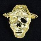 "Chic Pirates of the Caribbean Brown Skull Brooch Pin 1.9"" Swarovski Crystals"