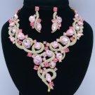 Showy Flower Necklace Earring Jewlry Sets W/ Pink Rhinestone Crystals 02267