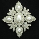 Wedding Bridal Oval Pearl Flower Brooch Pin Clear Rhinestone Crystals Fb1199