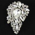 """3.3"""" Clear Flower Brooch Broach Pin W/ Rhinestone Crystals 8804857"""
