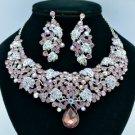 Silver Tone Leaf Necklace Earring Set W/ Purple Rhinestone Crystals 02624