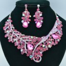 Silver Ton Leaf Flower Necklace Earring Set W/ Fuchsia Rhinestone Crystals 02622