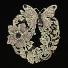 Purple Flower Scalewing Butterfly Brooch Broach Pin W/ Rhinestone Crystals 4489