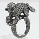 Wild Pretty Black Monkey Cocktail Ring 8# W/ Swarovski Crystals