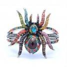 Vintage Rhinestone Crystals Multi Color Tarantula Spider Bracelet Bangle