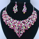 Silver Tone Fuchsia Flower Necklace Earring Set W/ Rhinestone Crystals 02554