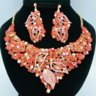 Rhinestone Crystals Popular Red Leaf Flower Necklace Earring Sets 02646