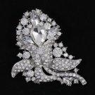 """Rhinestone Crystals Wedding Clear Flower Brooch Broach Pin 3.1"""" 4226"""