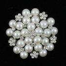 "1.8"" Faux Pearl Flower Brooch Pin W/ Swarovski Crystals Wedding Exquisite 16103"