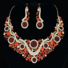Charm Flower Cluster Necklace Earring Set W/ Red Rhinestone Crystals