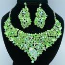 Rhinestone Crystals Popular Green Leaf Flower Necklace Earring Sets 02646
