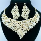 Rhinestone Crystals Popular Clear Leaf Flower Necklace Earring Sets 02646