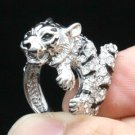 High Quality Animal Tiger Cocktail Ring 7# W/ Clear Swarovski Crystals SN2903R-3