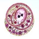 "Fashion Rhinestone Crystals Round Flower Brooch Pin 3.0"" Pink"