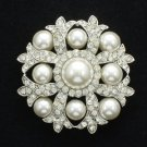 """Rhinestone Crystals Wedding Faux Pearl Floral Clear Flower Brooch Pin 2.0"""" 1201"""