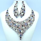 Purple Vogue Flower Necklace Earring Jewelry Sets W/ Rhinestone Crystals 5563