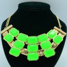 Gold Tone Fashion Resin Necklace Pendant W/ Green Acrylic