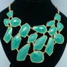 Gold Tone Vogue Blue Acrylic Resin Necklace Pendant W/ Woman