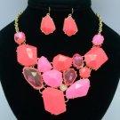 Fashion Irregular Pink Acrylic Resin Necklace Earring Sets LNE3165