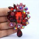 "Vintage Style 3.1"" Pink Flower Pendant Brooch Pin W/ Rhinestone Crystals 3857"