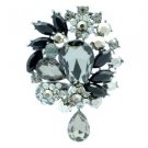 "Vintage Style 3.1"" Black Flower Pendant Brooch Pin W/ Rhinestone Crystals 3857"