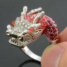 Silver Tone Cute Animal Dragon Cocktail Ring Sz 6# w/ Red Swarovski Crystals