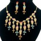Day of Dead Day Multicolor Skeleton Skull Necklace Earring Set Swarovski Crystal