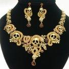 Topaz Swarovski Crystals Snake Skull Necklace Earring Jewelry Sets Vintage Style