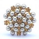 Trendy Brown Swarovski Crystals Imitation Pearl Flower Brooch Pin