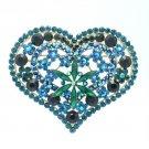 "Vintage Style Rhinestone Crystals Green Flower Heart Brooch Broach Pin 3.3"""